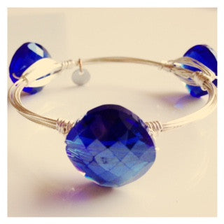 Cobalt Blue Crystal Coin Bangle