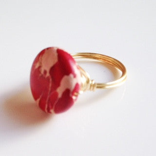Red Jasper Coin Ring