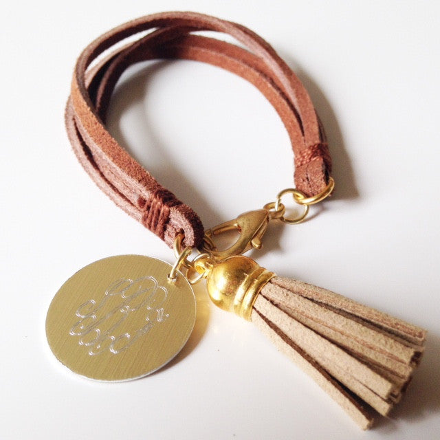 Dark Brown Leather Monogrammed Tassel Bracelet