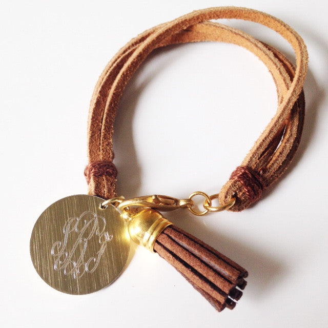 Light Brown Leather Monogrammed Tassel Bracelet