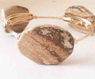 Brown Jasper Nugget Bangle