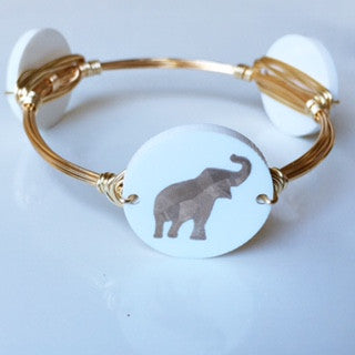 Elephant engraved wire wrapped bangle handmade jewelry bracelet Ellie's Sparkles