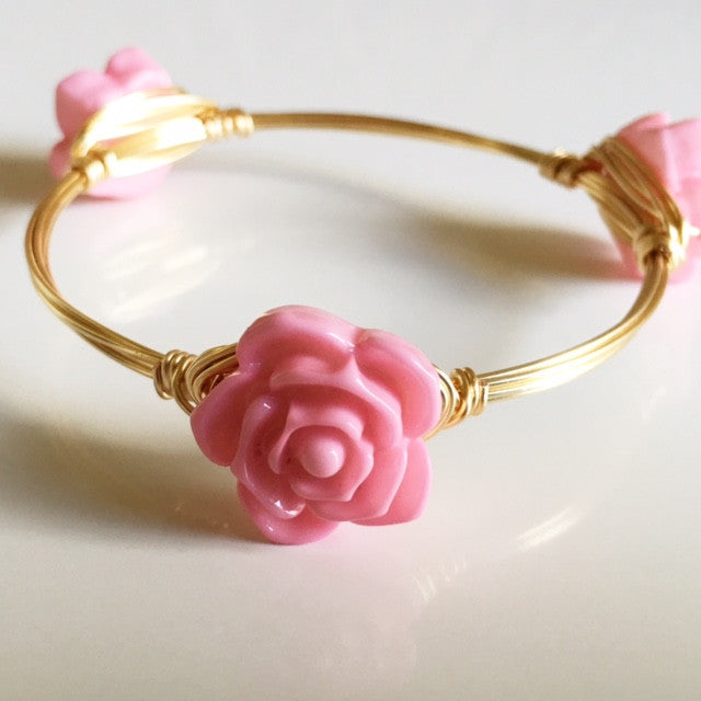 Soft Pink Flower Bangle