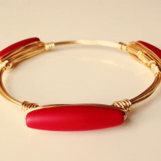 Bright Red Sea Glass Bar Bangle