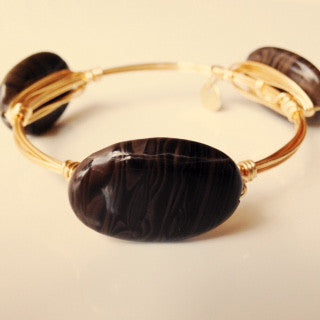 Coffee Jasper Stone Bangle (larger stone)