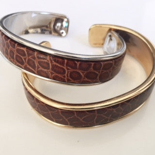 Brown Animal Print Leather Cuff