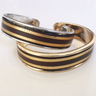 Gold/Brown Striped Leather Cuff