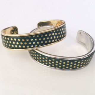 Emerald/Gold Polka Dot Cuff