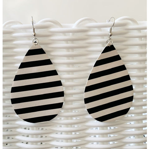 Black and White Teardrop Earrings