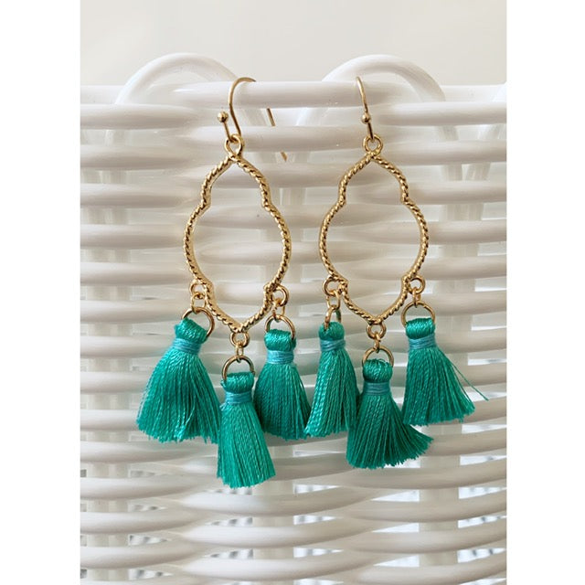 Teal Chandelier Tassel Earrings