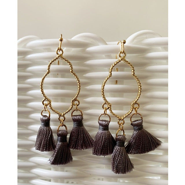 Gray Chandelier Tassel Earrings