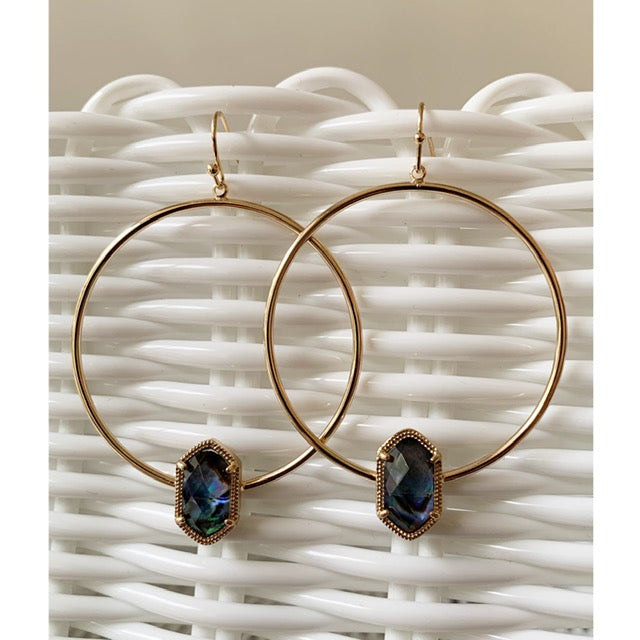 Blue Jewel Hoop Earrings