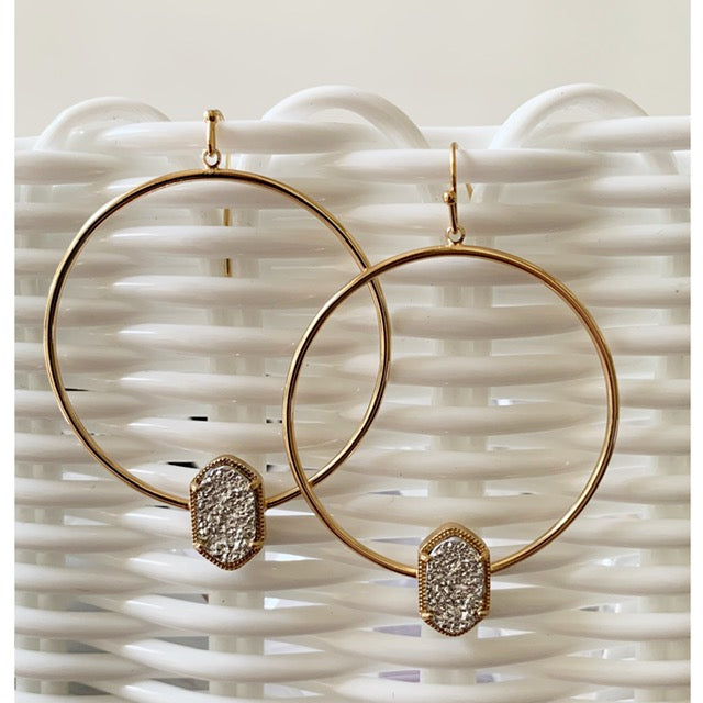 Silver Druzy Hoop Earrings