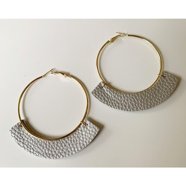 Silver Leather Hoop Earrings