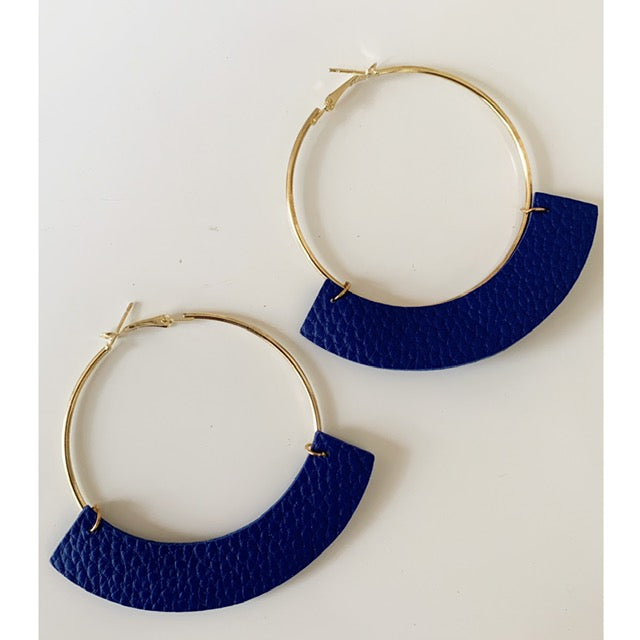 Blue Leather Hoop Earrings