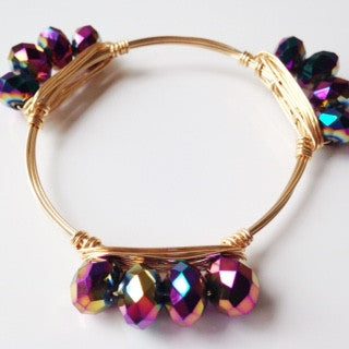 Metallic Peacock Iridescent Bar Bangle