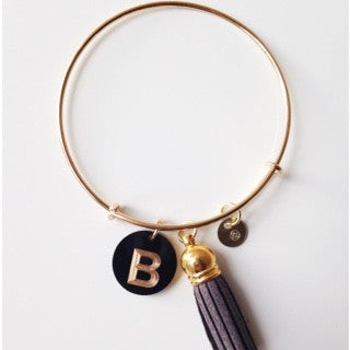 Gold Initial Charm Bangle