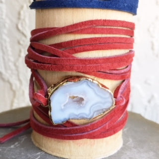 Copy of White Druzy/Navy Suede Wrap Bracelet