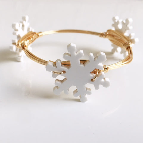 White Snowflake Bangle
