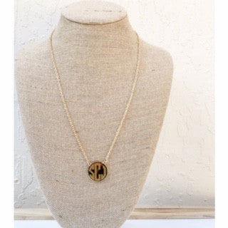 **Long Tortoise Monogrammed Necklace**