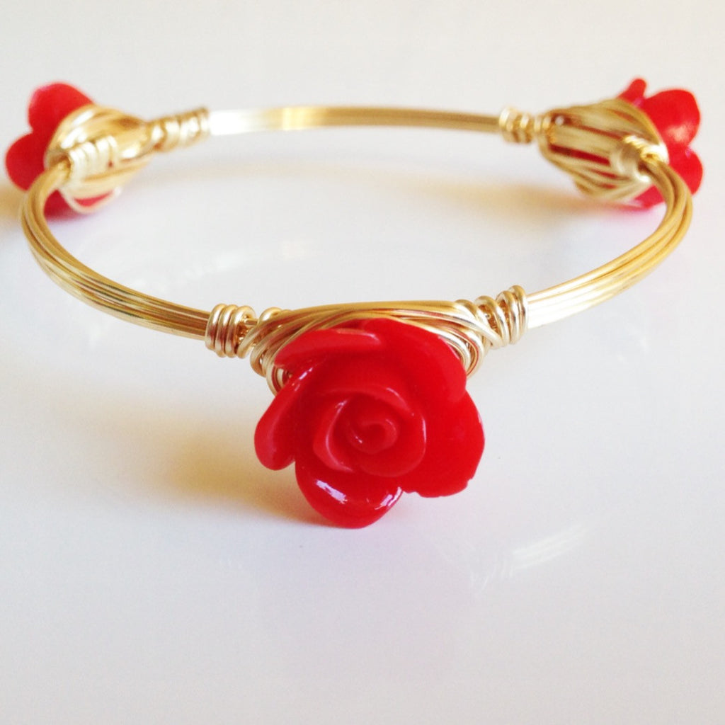 Dainty Red Rose Bangle