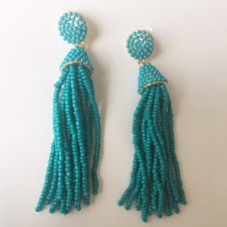 Long Teal Beaded Earrings