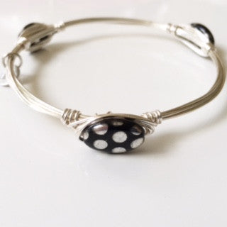 Black & Silver Polka Dot Oval Bangle