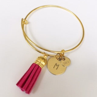 Hand Stamped Gold Initial Charm Bangle