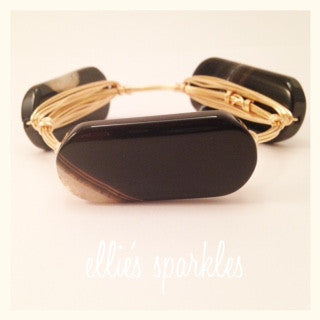 Large Black & White Agate Bangle