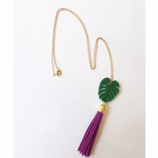 Palm Leaf Necklace with Long Tassel