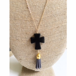 Black Cross Tassel Necklace
