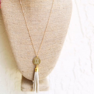 Monogrammed Necklace with Long Tassel