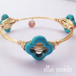 Turquoise Flower Bangle