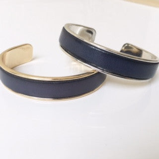 Navy Blue Leather Cuff