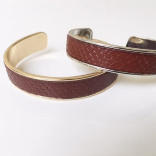 Cognac Snake Leather Cuff