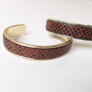 Cognac/Black Snake Leather Cuff