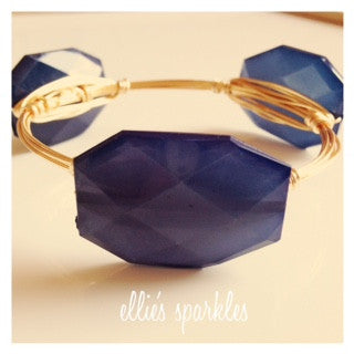 Navy Blue Faceted Rectangle Bangle