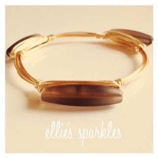 Brown Seaglass Bar Bangle