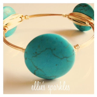 Light Blue Coin Bangle