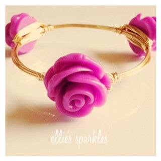 Bright Purple Flower Bangle