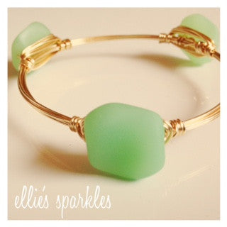 Mint Sea Glass Nugget Bangle