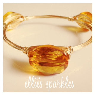 Golden Yellow Oval Crystal Bangle