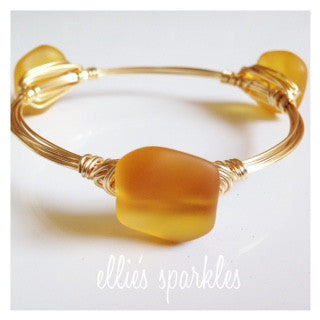 Marigold Sea Glass Nugget Bangle