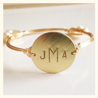 Gold or Silver Monogrammed Bangle with Pearls