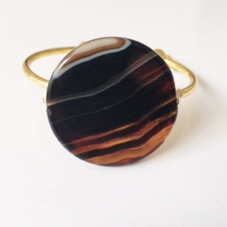 Large Brown/Black Mixed Agate Coin Cuff