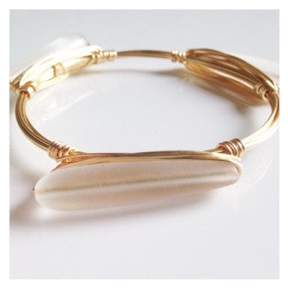Frosted Sea Glass Bar Bangle
