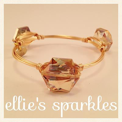 Iridescent Champagne Hexagon Crystal Bangle
