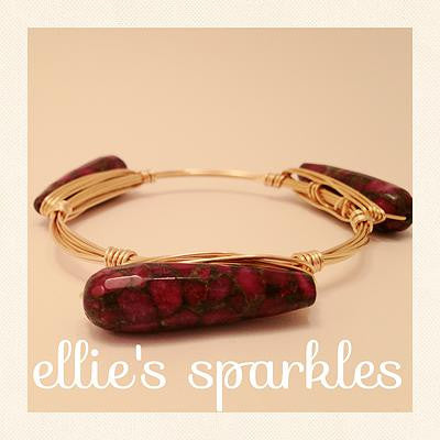 Marbled Teardrop Bangle (red/gold tones)