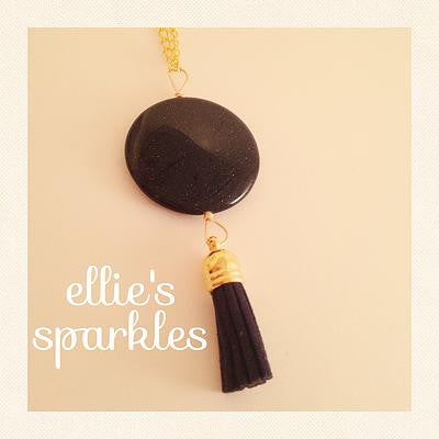 Midnight Blue Sparkle Tassel Necklace