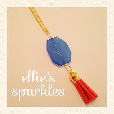 Orange and Blue Tassel Necklace
